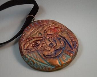 Handmade Boho Chic Artisan Polymer Clay  pendant