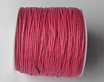 80 Mtrs (1 Roll ) x 1mm Hot Pink/ Fuschia Wax Cotton Thread Cord String Craft Jewellery Making