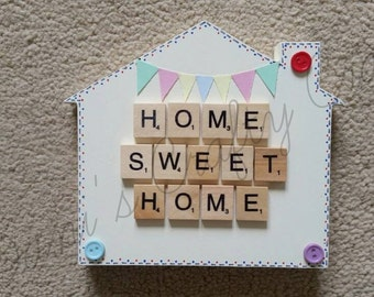 Home Sweet Home Free standing wooden House Sign Plaque