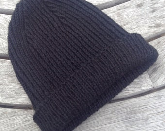 Gents reversible ribbed black pure alpaca watch cap / hat by Willow Luxury