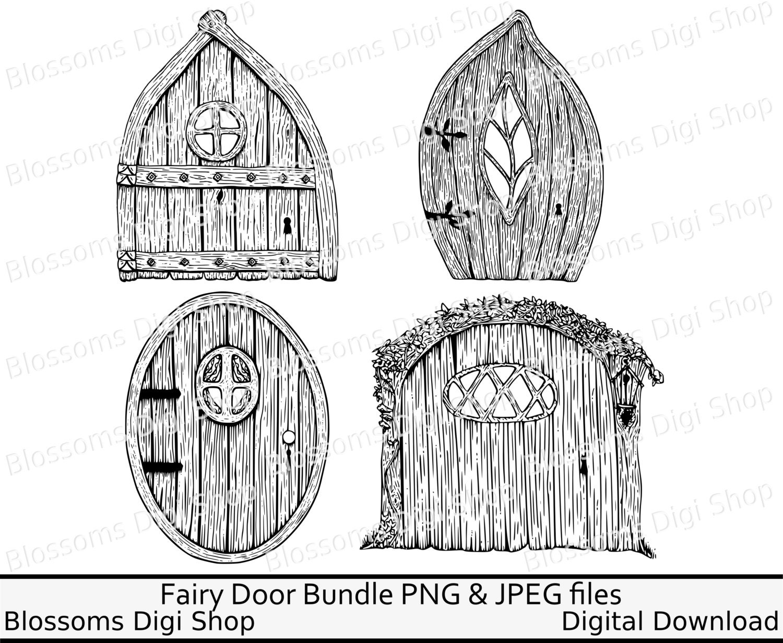 Fairy door bundle, gnome png, digital download, hand drawn ...