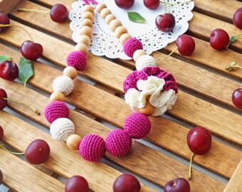 Nursing necklace / Teething necklace / Babywearing necklace - Cherry jam