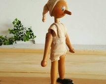 Vintage Polish Wood Pinocchio Jointed Doll Peg Figure Blue Eyes Blonde Hair Long Pointed Hat Beige Clothes Elf Shelf Friend