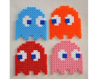 Four Pacman Ghost Shape Hama Bead Coasters