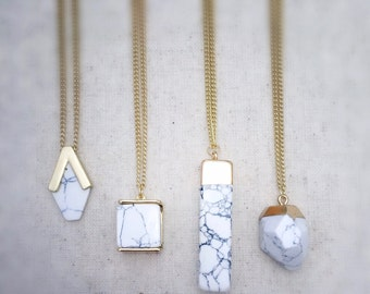White howlite necklace, white howlite jewelry, white necklace, geometric jewelry, everyday jewelry, everyday necklace, gold necklace, gift