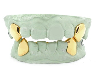 Custom 2 Piece K9 Fangz 14k Gold Grillz Plated Sterling Silver Top or Bottom Vampire Fangz Gold Caps