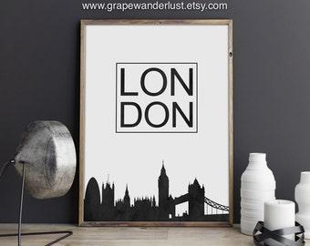London print, London art, London skyline, London decor, Great Britain, United Kingdom art, United Kingdom print,  office décor, marble art