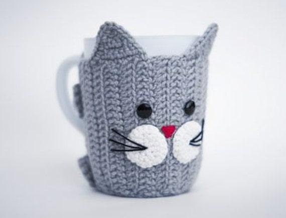 Crochet Mug Cozy with cup Cat Mug Warmer Cup Cozy Cup