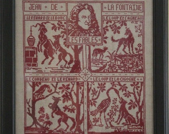 "Hand embroidery picture ""La Fontaine"""