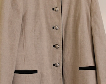 ecru linen-cotton jacket-Meico