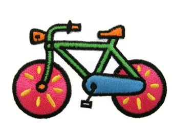 Bicycle Bike Embroidered Iron on Applique Patches