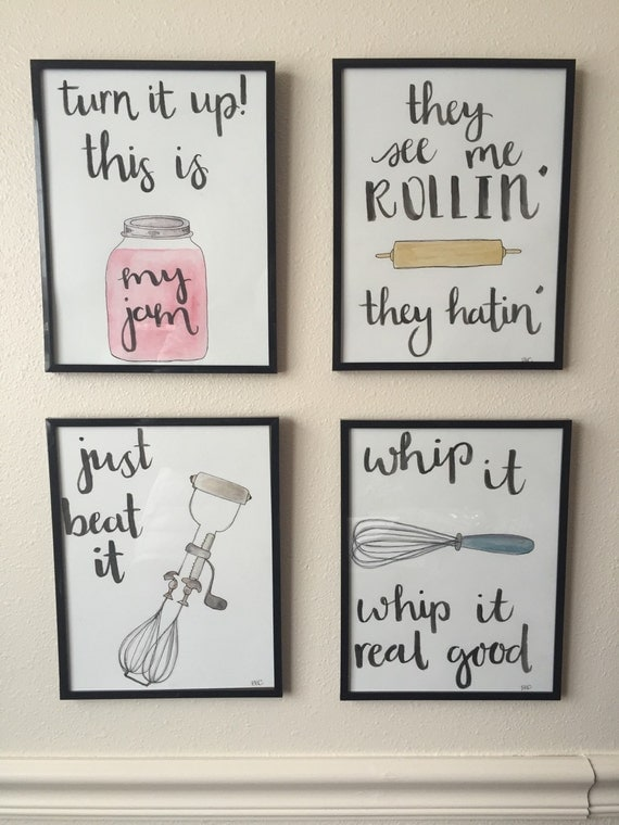 Framed watercolor kitchen puns by bevcartwrightdesigns on etsy for Fun sayings for dining room wall art
