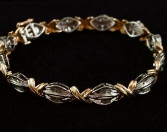 2 Carat Diamond Bracelet, White & Yellow Gold, Night or Day Wear