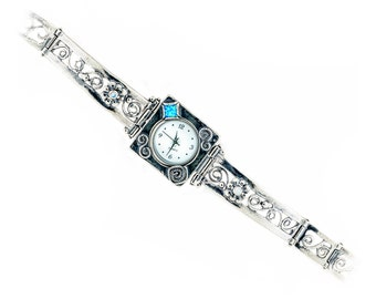 Silver Women watch, Silver opal watch, October birthstone watch, waterproof watch, 925 sterling silver watch, handmade