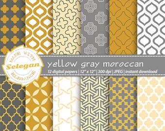 "moroccan decor ""Yellow & Gray Moroccan"" digital Paper scrapbooking paper 12x12 printable arabian pattern islamic eid background download"