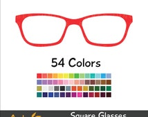 Glasses Clipart for Planner Stickers- Hipster Clip Art Nerdy Square Glasses Geeky Frames Digital Printable Photo Booth Prop Instant Download
