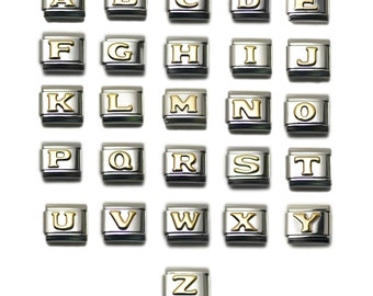 Letter Alphabet Italian Charm Bracelet Link By Dolceoro Steel (DOS), 9mm Type Medium Size, Choose your Alphabets & Quantities