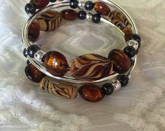 Three Loop Memory Wire Bracelet with Glass and Silver Beads