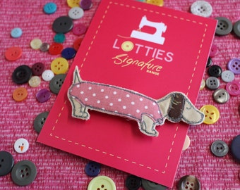 Large free motion machine embroidered and appliqué Sausage Dog with Coat shaped brooch