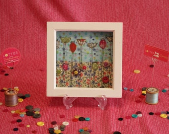 Small free motion machine embroidery textile art piece depicting Mini Meadow artwork by Lotties Little Treasures