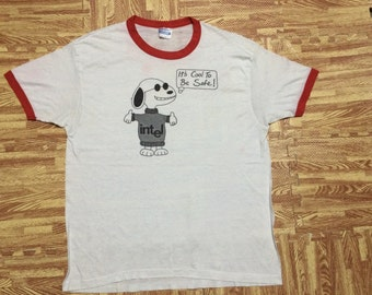 Vintage 80s SNOOPY intel Tshirt polyester cotton 50/50