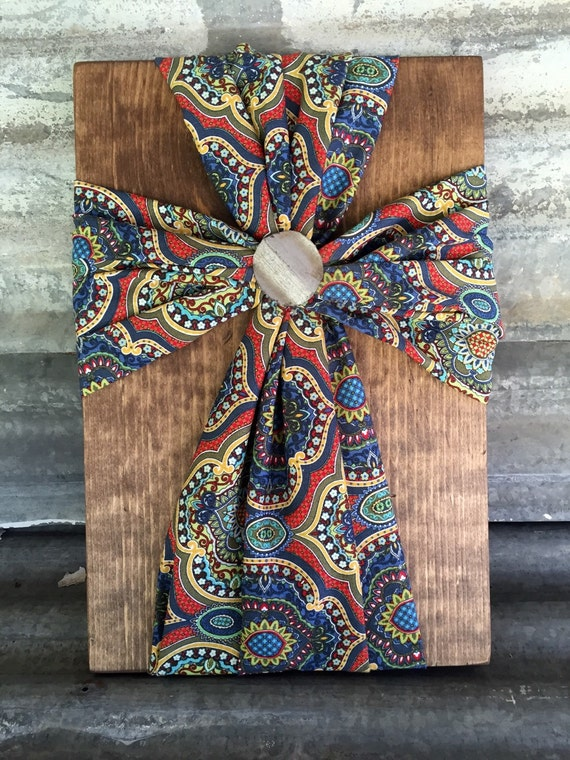 Items similar to Fabric Wood Cross, Home Decor on Etsy