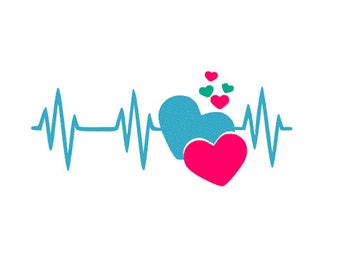 Heartbeat SVG, Studio 3, DXF, AI, ps and pdf Cutting Files for Electronic Cutting Machines