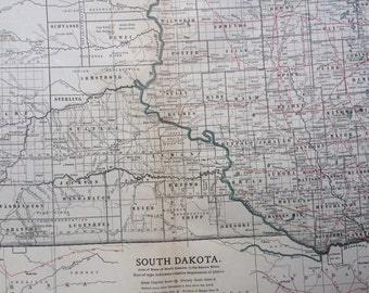 1903 SOUTH DAKOTA Original Large Antique Map - Wall Map - Home Decor - Cartography - 11 x 16 Inches - Detailed Map - Geography