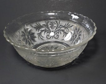 Vintage Glass Bowl, Floral Serving Bowl, Salad Bowl, Mixing Bowl