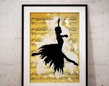 Vintage music sheet poster printable ballerina dancing Art wall decor Instant Download