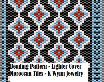 Bead PATTERN Beaded Lighter Cover -Moroccan Tiles- Flat Peyote Stitch Pattern BIC Lighter Case