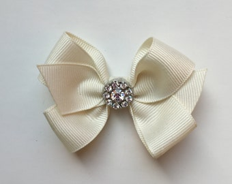 Girls hair bow, hair clip, baby hair bow, bling bow, cream hair bow, ivory hair bow, cream bow, toddler bow, crystal bling bow, girls bow