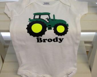Vinyl tractor personalized onesie