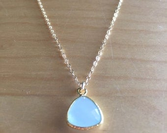 14K Gold Filled Necklace with Aqua Chalcedony Gold Vermeil Pendant