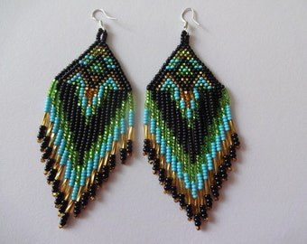 Seed Bead Chandelier Earrings, Aztec Earrings, Boho Earrings, Ethnic Tribal Earrings