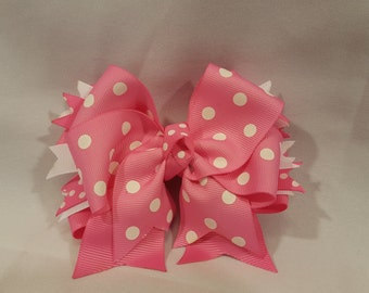 Pink Polka Dot Hairbow