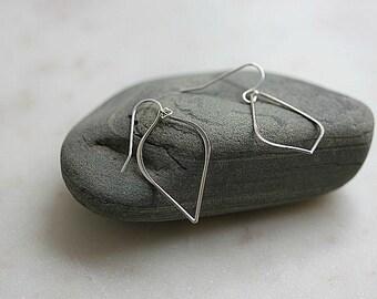 Sterling Silver Teardrop Earrings - Modern Sterling Silver Earrings - Sterling Silver Dangle earrings