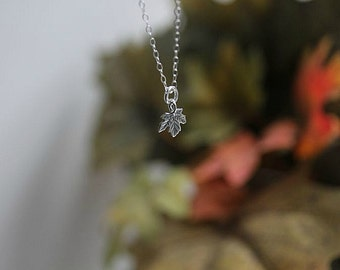 Tiny Sterling Maple Leaf Necklace, Silver TINY Leaf Necklace, Sterling Silver Leaf, Fall Necklace, Gift for her
