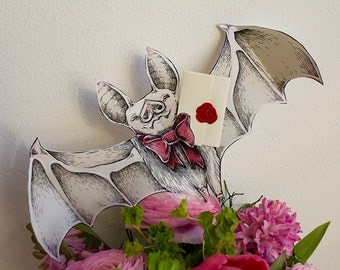 Cute Albino Bat Papercraft Greeting Card