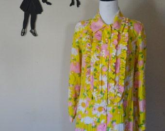 Vintage 1960's Mini Floral Dress / 60s Cotton Ruffle Bib Collar Dress L/XL