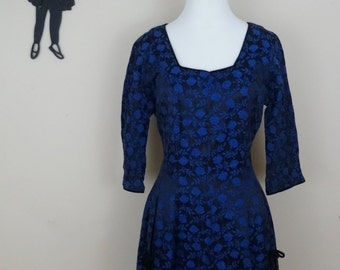 Vintage 1950's Blue Brocade Dress / 50s McKettrick Dress M