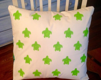 Green hand painted turtles 18x18 pillow case