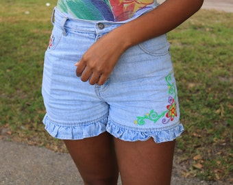Frilly Floral High Waist Shorts