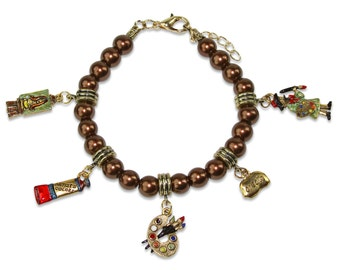 Whimsical Artist Charm Bracelet Women's-Hand Painted Pewter Charms-Brown Glass Beads-Made in USA