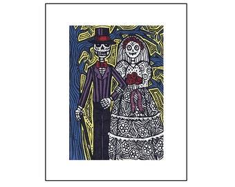 "Art Print Wedding Bride and Groom ""Happy–Contento"" Day of the Dead Sugar Skull"