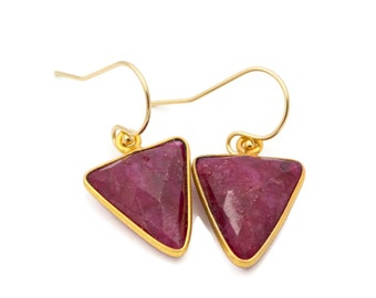 Ruby Earrings, Red Triangle Earrings, Geometric Earrings, Red Gemstone Earrings, Ruby Dangle Earrings, July Birthstone, Ruby Jewelry