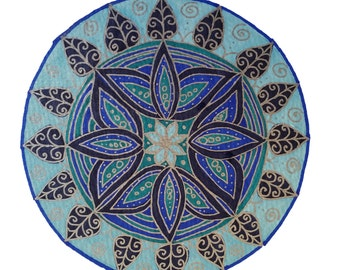 Mandala in blues and silver