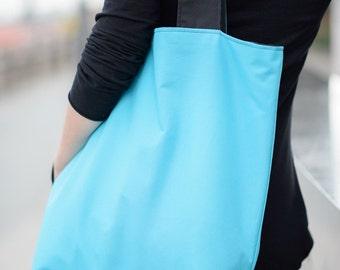 waterproof bag, shopper oversize bag, double sided bag, reversible  tote bag, double-faced black blue, packable bag, large tote, xxl bag