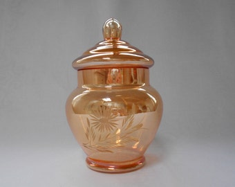 Vintage Peach Lustre Ware Etched Lolly or Candy Jar 1960's  #00001