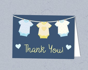Washing Line Baby Shower - Printable Thank You Card, Instant Download, Baby Boy, Printable Party Supplies, Baby Shower Favor Tag